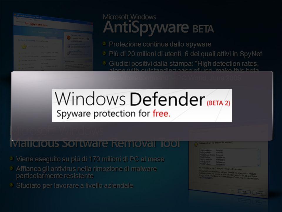 Protezione continua dallo spyware Più di 20 milioni di utenti, 6 dei quali attivi in SpyNet Giudizi positivi dalla stampa: High detection rates, along