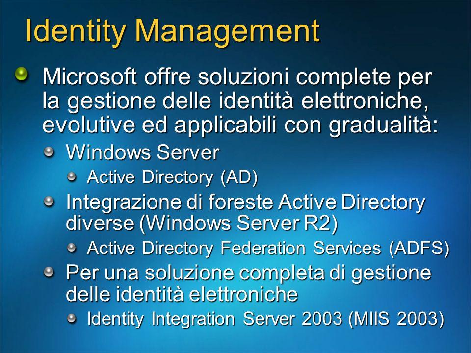 Identity Management Microsoft offre soluzioni complete per la gestione delle identità elettroniche, evolutive ed applicabili con gradualità: Windows S