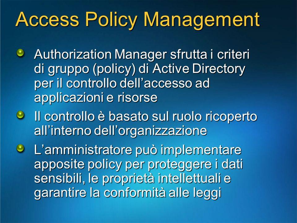 Access Policy Management Authorization Manager sfrutta i criteri di gruppo (policy) di Active Directory per il controllo dellaccesso ad applicazioni e