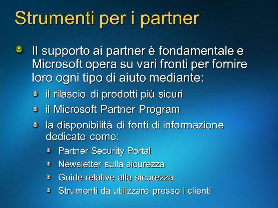 Strumenti per i partner Il supporto ai partner è fondamentale e Microsoft opera su vari fronti per fornire loro ogni tipo di aiuto mediante: il rilasc