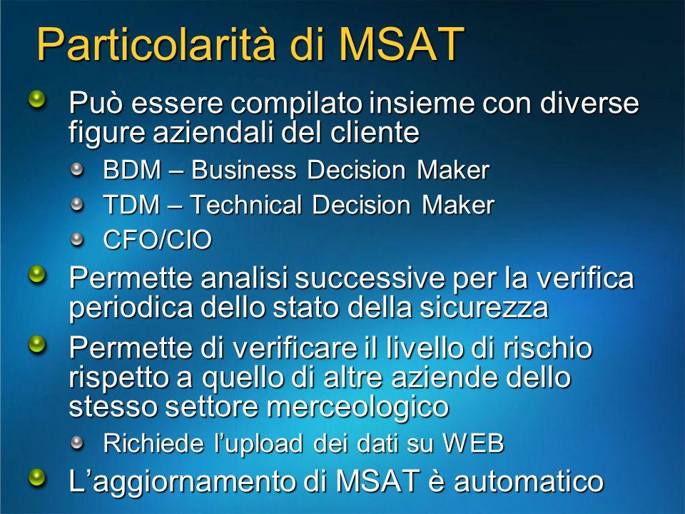 Particolarità di MSAT Può essere compilato insieme con diverse figure aziendali del cliente BDM – Business Decision Maker TDM – Technical Decision Mak