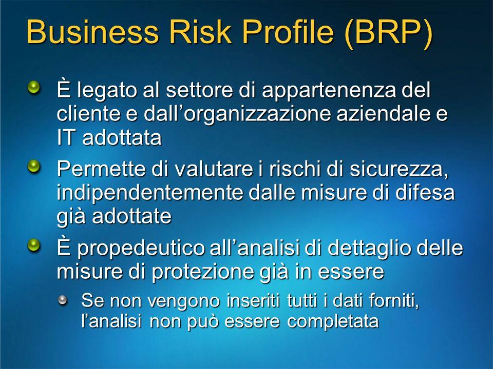 Business Risk Profile (BRP) È legato al settore di appartenenza del cliente e dallorganizzazione aziendale e IT adottata Permette di valutare i rischi