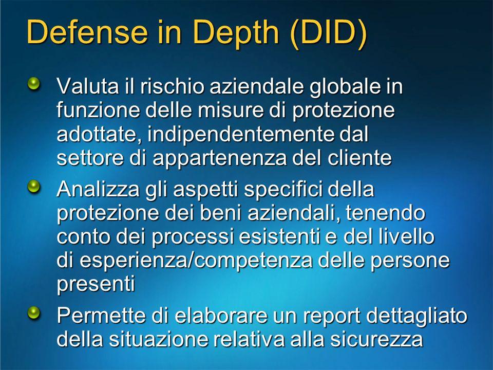 Defense in Depth (DID) Valuta il rischio aziendale globale in funzione delle misure di protezione adottate, indipendentemente dal settore di appartene