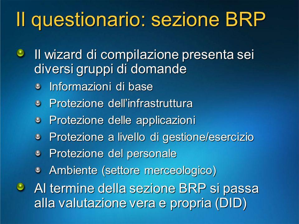 Il questionario: sezione BRP Il wizard di compilazione presenta sei diversi gruppi di domande Informazioni di base Protezione dellinfrastruttura Prote