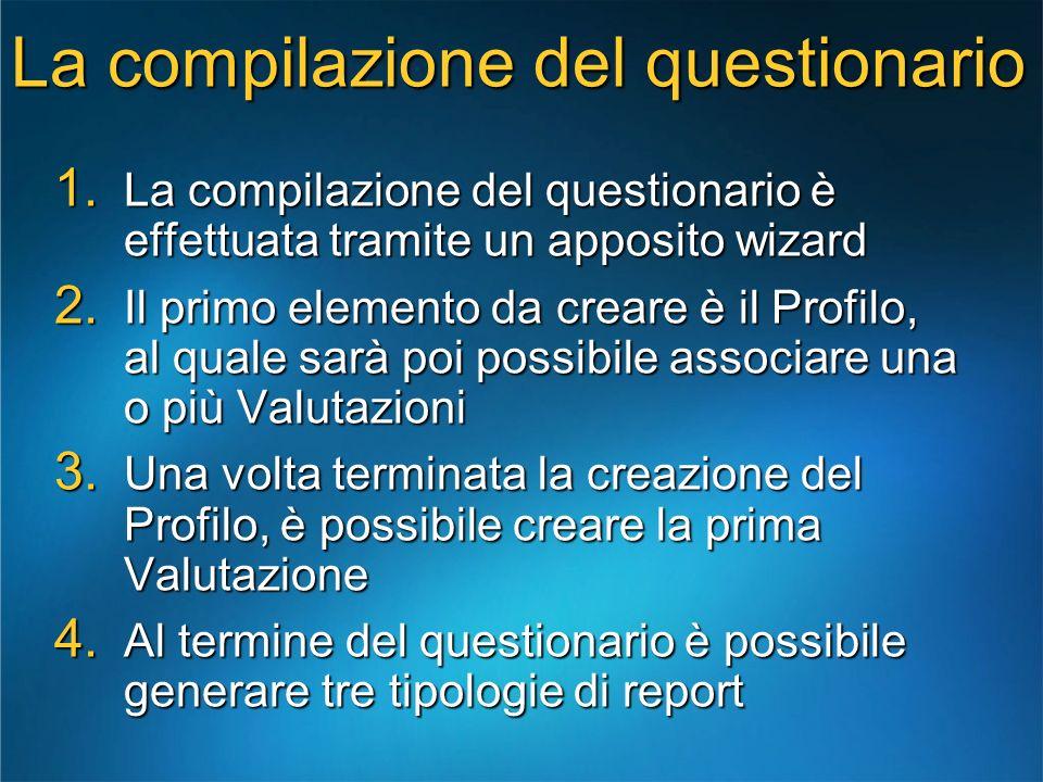 La compilazione del questionario 1. La compilazione del questionario è effettuata tramite un apposito wizard 2. Il primo elemento da creare è il Profi