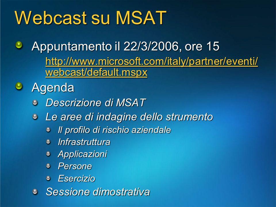 Webcast su MSAT Appuntamento il 22/3/2006, ore 15 http://www.microsoft.com/italy/partner/eventi/ webcast/default.mspx Agenda Descrizione di MSAT Le ar