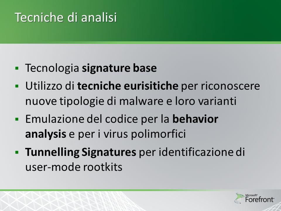 Tecniche di analisi Tecnologia signature base Utilizzo di tecniche eurisitiche per riconoscere nuove tipologie di malware e loro varianti Emulazione d
