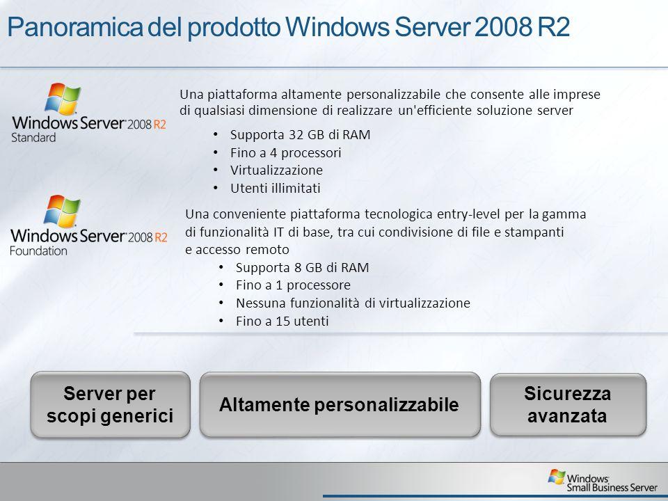 Panoramica del prodotto Windows Server 2008 R2 Una piattaforma altamente personalizzabile che consente alle imprese di qualsiasi dimensione di realizzare un efficiente soluzione server Supporta 32 GB di RAM Fino a 4 processori Virtualizzazione Utenti illimitati Una conveniente piattaforma tecnologica entry-level per la gamma di funzionalità IT di base, tra cui condivisione di file e stampanti e accesso remoto Supporta 8 GB di RAM Fino a 1 processore Nessuna funzionalità di virtualizzazione Fino a 15 utenti Server per scopi generici Altamente personalizzabile Sicurezza avanzata