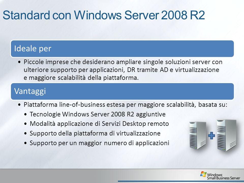 Standard con Windows Server 2008 R2 Ideale per Piccole imprese che desiderano ampliare singole soluzioni server con ulteriore supporto per applicazioni, DR tramite AD e virtualizzazione e maggiore scalabilità della piattaforma.