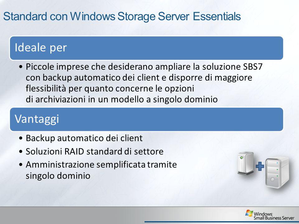Standard con Windows Storage Server Essentials Ideale per Piccole imprese che desiderano ampliare la soluzione SBS7 con backup automatico dei client e disporre di maggiore flessibilità per quanto concerne le opzioni di archiviazioni in un modello a singolo dominio Vantaggi Backup automatico dei client Soluzioni RAID standard di settore Amministrazione semplificata tramite singolo dominio