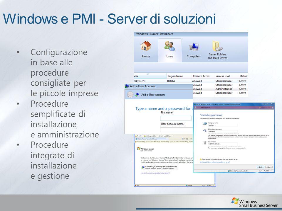 Windows e PMI - Server di soluzioni Configurazione in base alle procedure consigliate per le piccole imprese Procedure semplificate di installazione e amministrazione Procedure integrate di installazione e gestione
