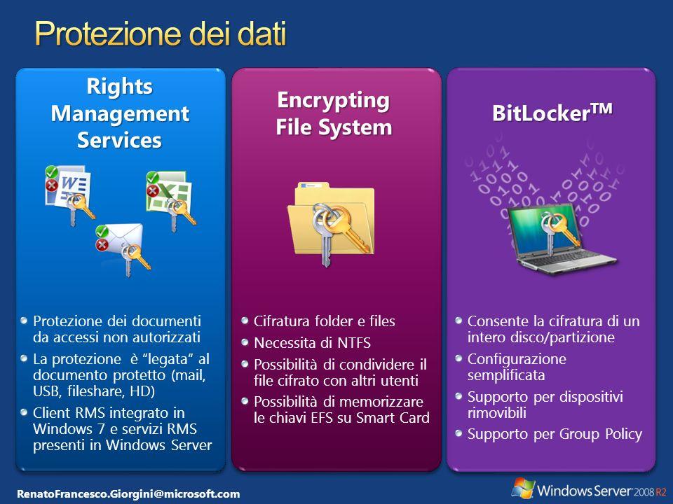 RenatoFrancesco.Giorgini@microsoft.com AutoreDestinatario Windows Server 2008 R2 con RMS SQL Server Active Directory 2 2 3 3 4 4 5 5 1 1 3 3