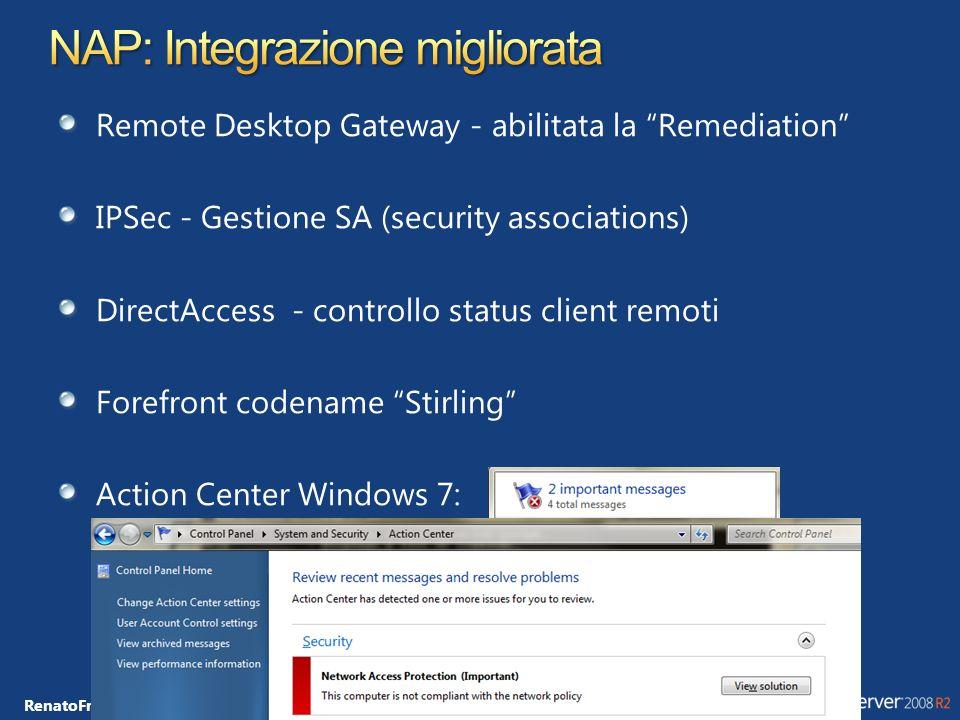 RenatoFrancesco.Giorgini@microsoft.com Permette di superare le carenze di sicurezza del servizio DNS Definito nelle RFC 4033, 4034 e 4035 Raccomandato NIST SP 800-53 DNS Server: 4 Nuovi Resource Records DNSKEY, RRSIG, NSEC, DS Supportato nei nuovi prodotti Microsoft DNS Server: Windows Server 2008 R2 DNS Client: Windows 7, Windows Server 2008 R2 Signing: Possibile solo con Static Zones Effettuato da riga di comando: DNSCmd.exe RSA/SHA-1, chiavi da 512-4096 bit Da integrare con IPSec e Group Policy