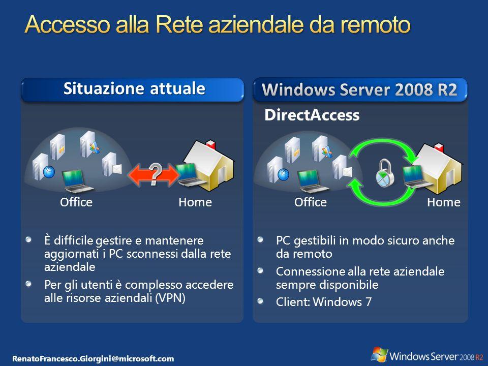 RenatoFrancesco.Giorgini@microsoft.com DirectAccess Server Windows Server 2008 R2 Compliant Client IPsec/IPv6 Data Center and Business Critical Resources Internet Intranet User Enterprise Network Compliant Network Intranet User IPsec/IPv6 NAP / NPS Servers