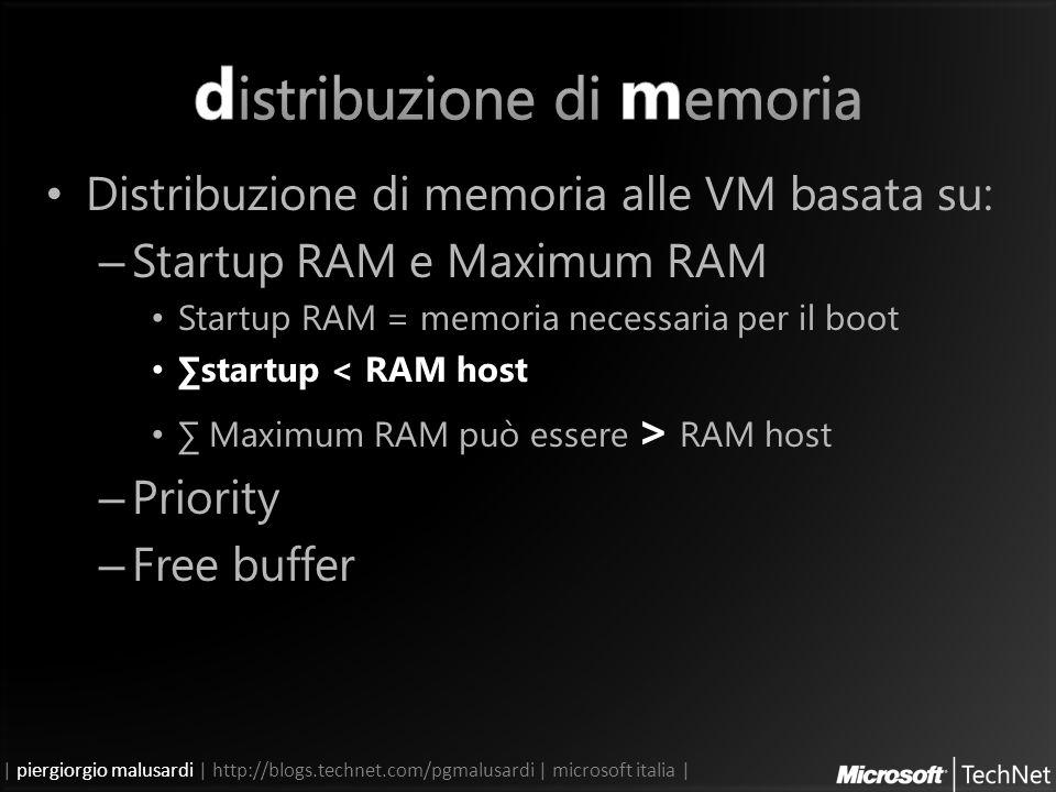 | piergiorgio malusardi | http://blogs.technet.com/pgmalusardi | microsoft italia | Distribuzione di memoria alle VM basata su: – Startup RAM e Maximum RAM Startup RAM = memoria necessaria per il boot startup < RAM host Maximum RAM può essere > RAM host – Priority – Free buffer
