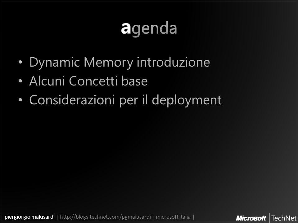 | piergiorgio malusardi | http://blogs.technet.com/pgmalusardi | microsoft italia | Dynamic Memory introduzione Alcuni Concetti base Considerazioni per il deployment