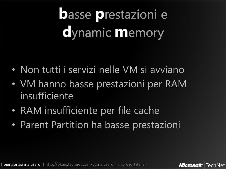 | piergiorgio malusardi | http://blogs.technet.com/pgmalusardi | microsoft italia | Non tutti i servizi nelle VM si avviano VM hanno basse prestazioni per RAM insufficiente RAM insufficiente per file cache Parent Partition ha basse prestazioni