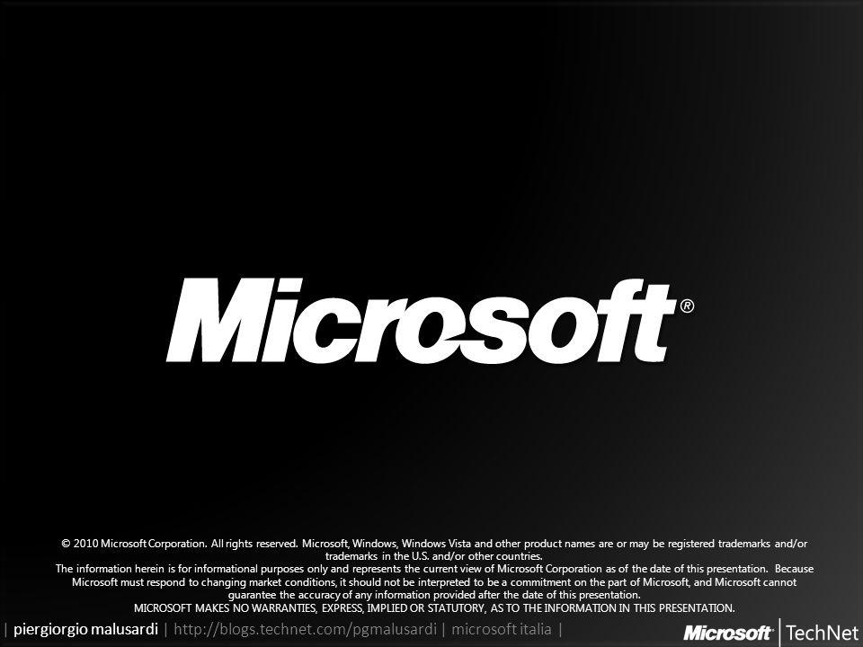 | piergiorgio malusardi | http://blogs.technet.com/pgmalusardi | microsoft italia | © 2010 Microsoft Corporation.