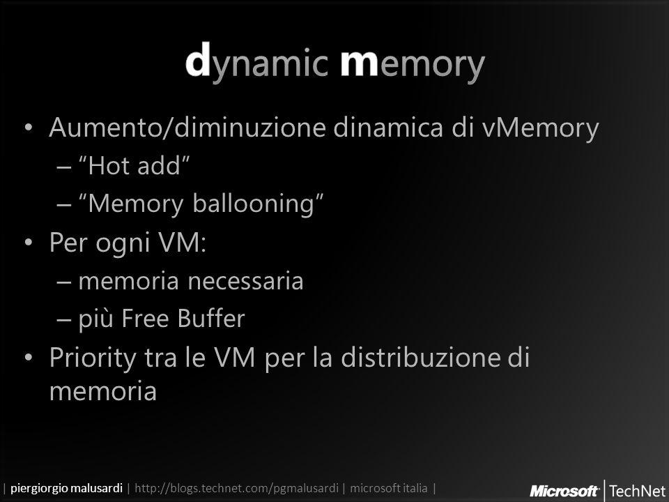 | piergiorgio malusardi | http://blogs.technet.com/pgmalusardi | microsoft italia | Aumento/diminuzione dinamica di vMemory – Hot add – Memory ballooning Per ogni VM: – memoria necessaria – più Free Buffer Priority tra le VM per la distribuzione di memoria
