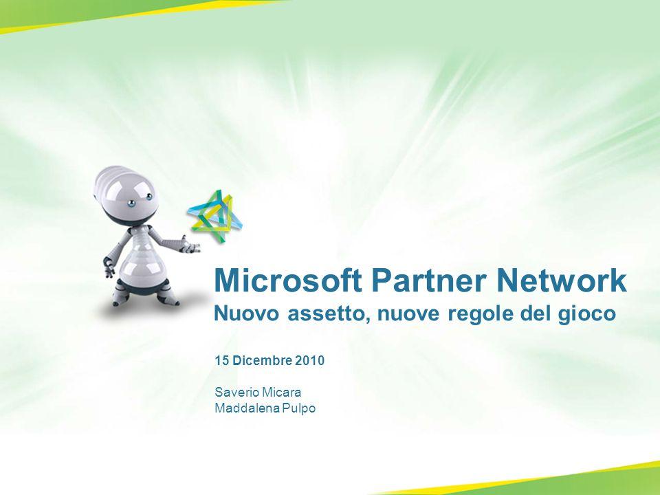 Microsoft Partner Network Nuovo assetto, nuove regole del gioco 15 Dicembre 2010 Saverio Micara Maddalena Pulpo