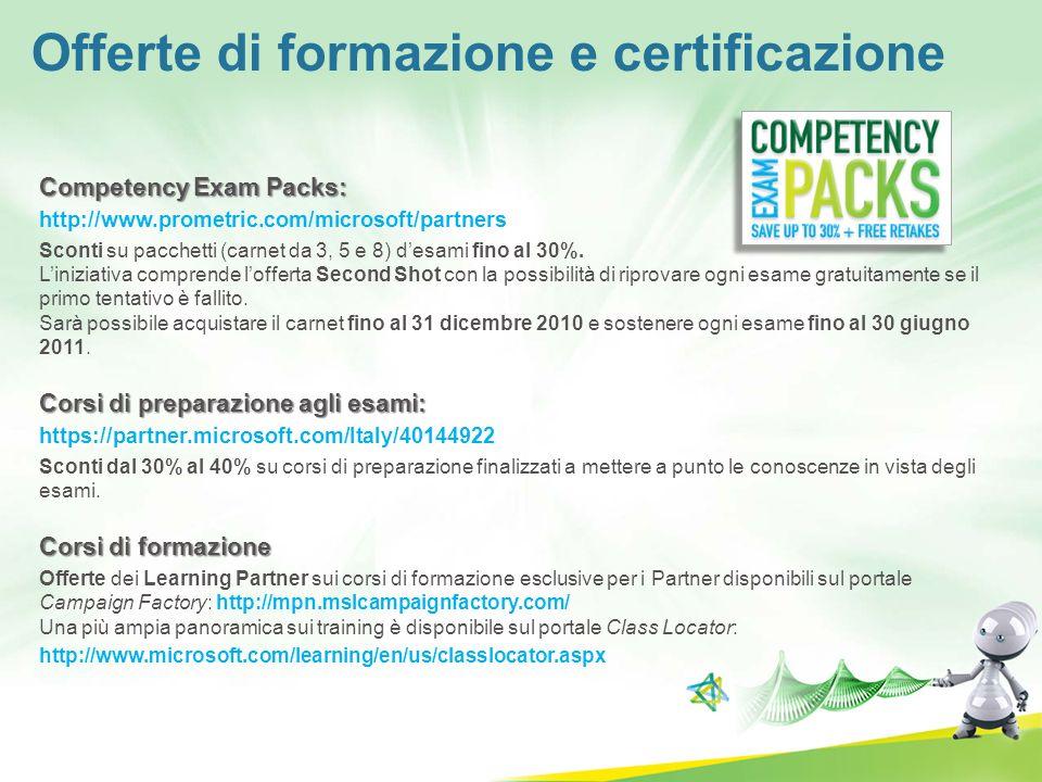 Competency Exam Packs: http://www.prometric.com/microsoft/partners Sconti su pacchetti (carnet da 3, 5 e 8) desami fino al 30%. Liniziativa comprende
