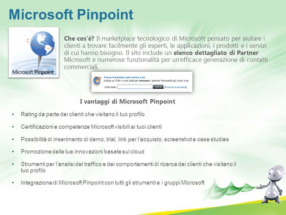 Microsoft Pinpoint Che cosè? Il marketplace tecnologico di Microsoft pensato per aiutare i clienti a trovare facilmente gli esperti, le applicazioni,