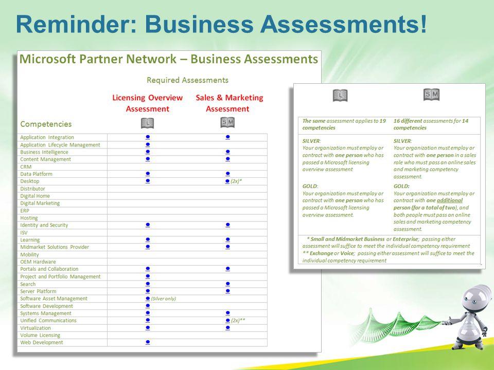 Reminder: Business Assessments!