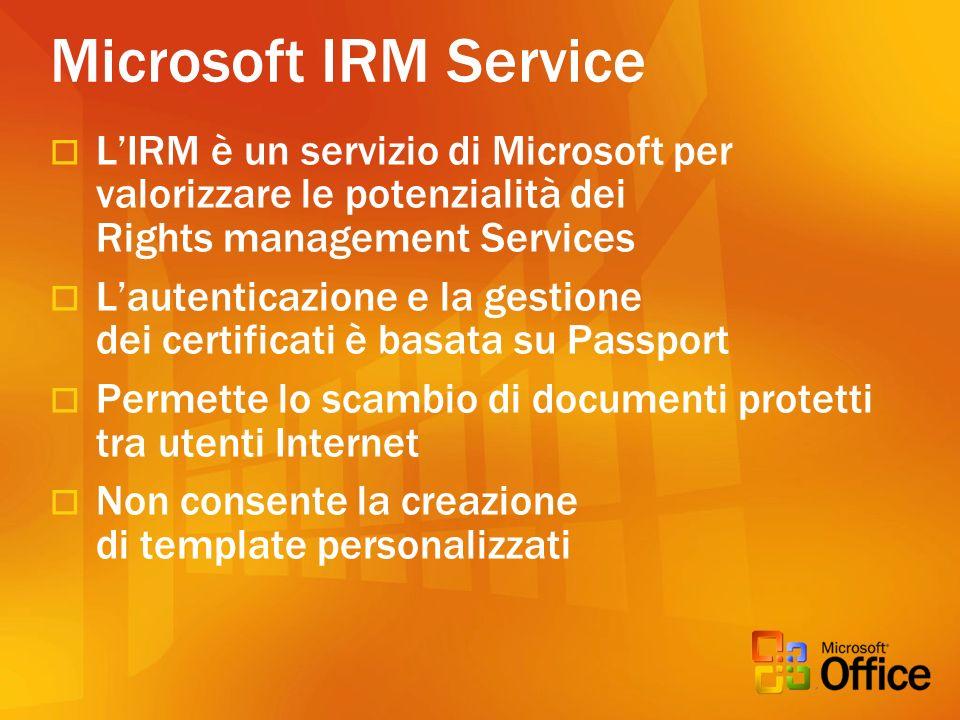 Microsoft IRM Service LIRM è un servizio di Microsoft per valorizzare le potenzialità dei Rights management Services Lautenticazione e la gestione dei certificati è basata su Passport Permette lo scambio di documenti protetti tra utenti Internet Non consente la creazione di template personalizzati