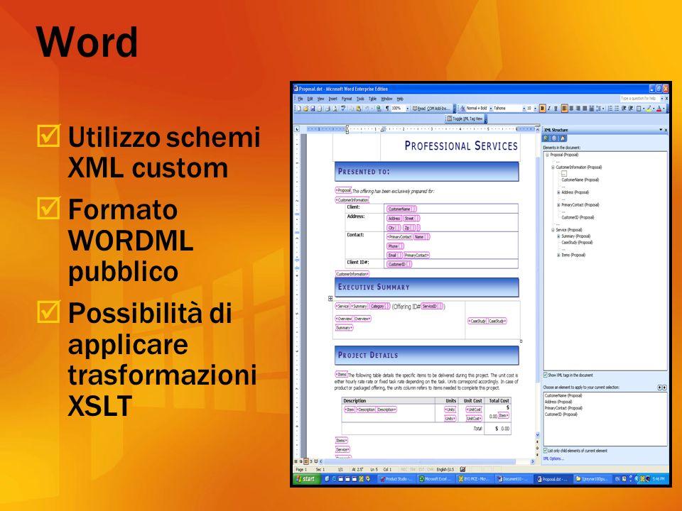 Word Utilizzo schemi XML custom Formato WORDML pubblico Possibilità di applicare trasformazioni XSLT