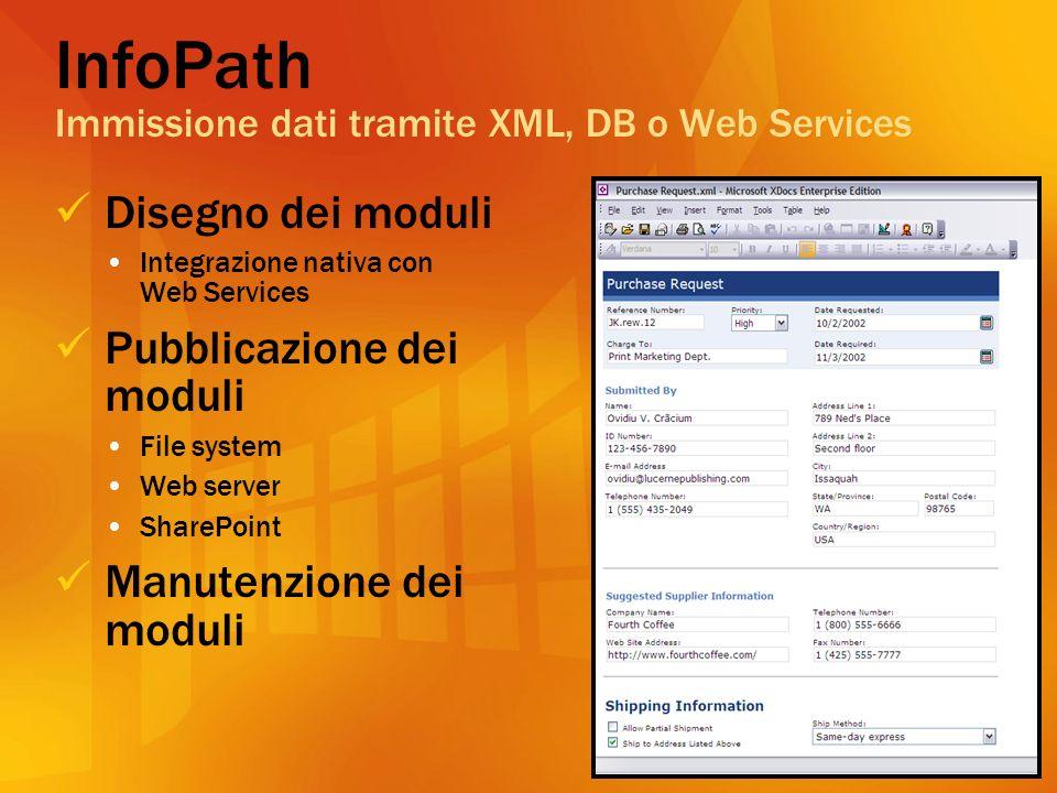 InfoPath Immissione dati tramite XML, DB o Web Services Disegno dei moduli Integrazione nativa con Web Services Pubblicazione dei moduli File system Web server SharePoint Manutenzione dei moduli