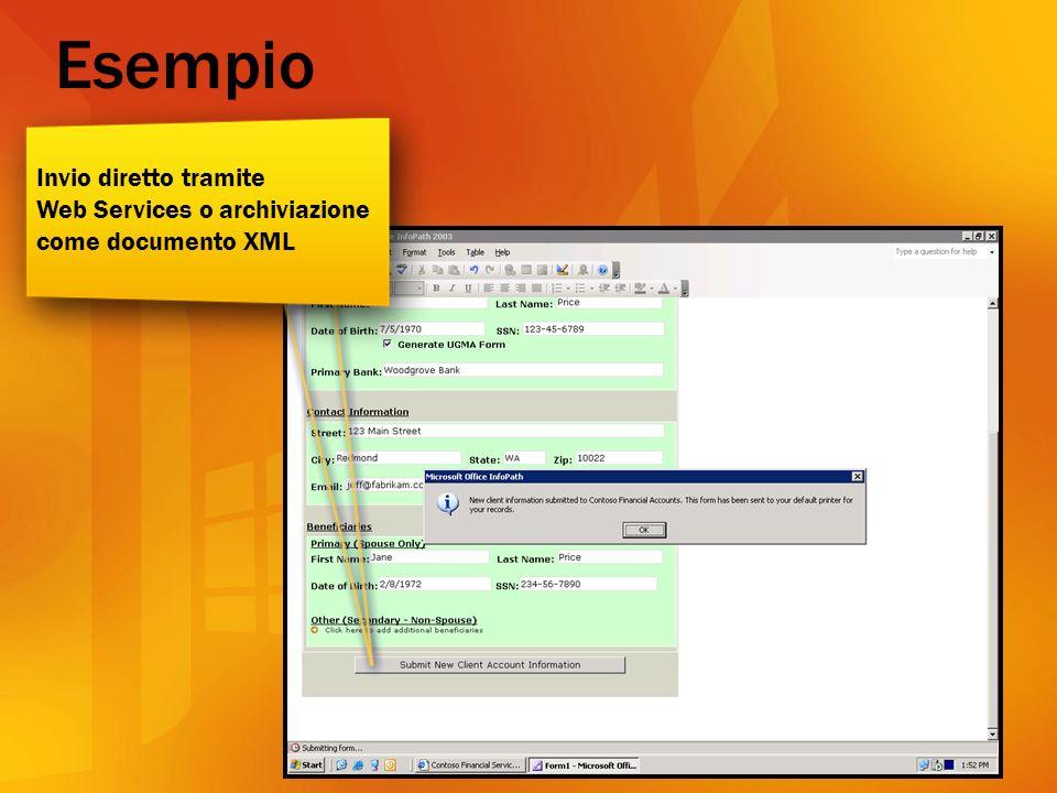 Invio diretto tramite Web Services o archiviazione come documento XML Esempio