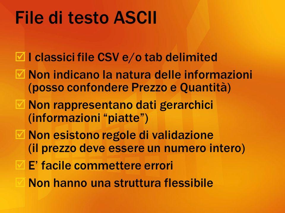 File di testo ASCII I classici file CSV e/o tab delimited Non indicano la natura delle informazioni (posso confondere Prezzo e Quantità) Non rappresentano dati gerarchici (informazioni piatte) Non esistono regole di validazione (il prezzo deve essere un numero intero) E facile commettere errori Non hanno una struttura flessibile