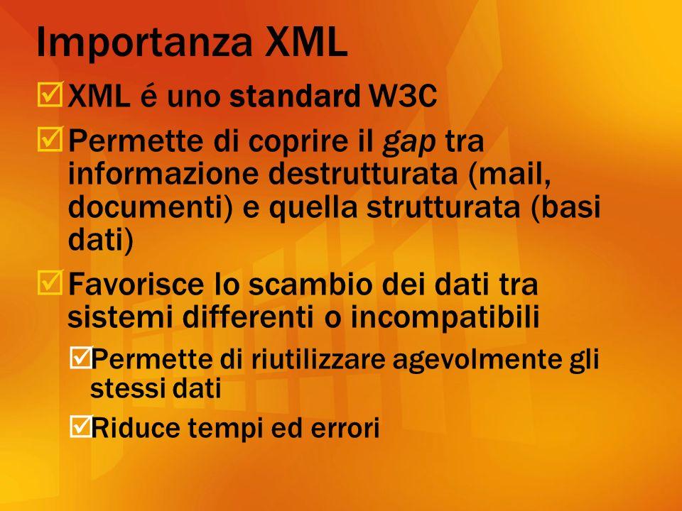Importanza XML XML é uno standard W3C Permette di coprire il gap tra informazione destrutturata (mail, documenti) e quella strutturata (basi dati) Favorisce lo scambio dei dati tra sistemi differenti o incompatibili Permette di riutilizzare agevolmente gli stessi dati Riduce tempi ed errori