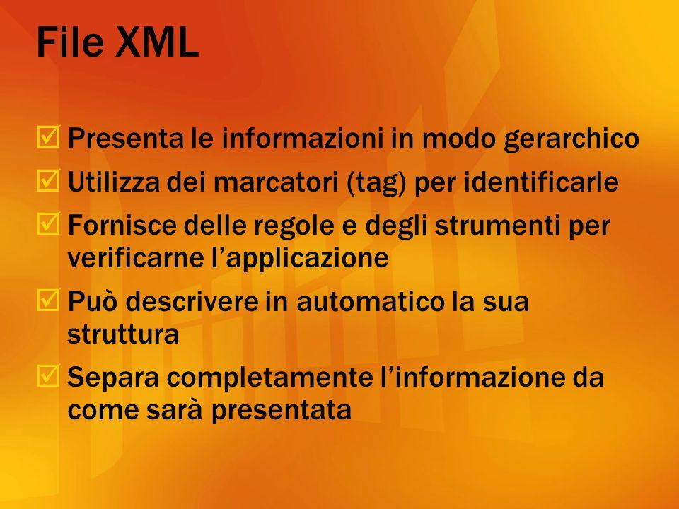 File XML Presenta le informazioni in modo gerarchico Utilizza dei marcatori (tag) per identificarle Fornisce delle regole e degli strumenti per verificarne lapplicazione Può descrivere in automatico la sua struttura Separa completamente linformazione da come sarà presentata