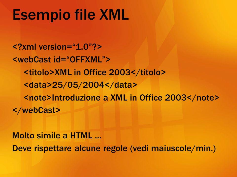 Esempio file XML XML in Office 2003 25/05/2004 Introduzione a XML in Office 2003 Molto simile a HTML...