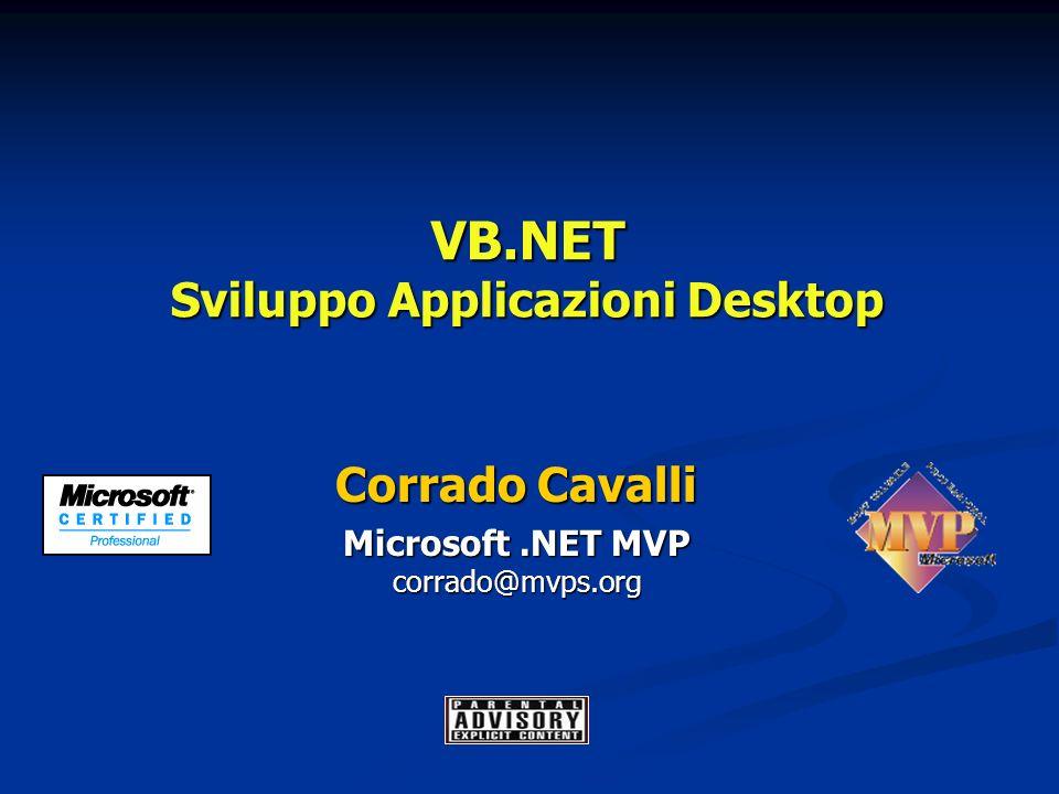 VB.NET Sviluppo Applicazioni Desktop Corrado Cavalli Microsoft.NET MVP corrado@mvps.org