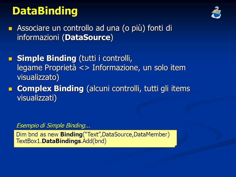 DataBinding Associare un controllo ad una (o più) fonti di informazioni (DataSource) Associare un controllo ad una (o più) fonti di informazioni (Data