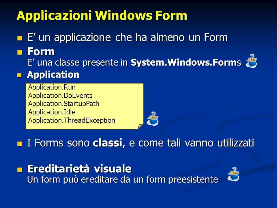 E un applicazione che ha almeno un Form E un applicazione che ha almeno un Form Form E una classe presente in System.Windows.Forms Form E una classe p