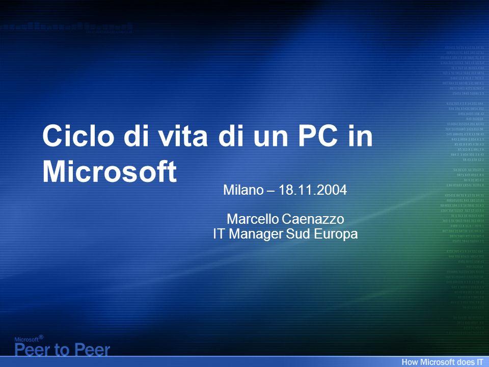 Agenda IT @ Microsoft Problematiche relative alla gestione dei PC Soluzioni adottate Risultati ottenuti Uno sguardo al futuro