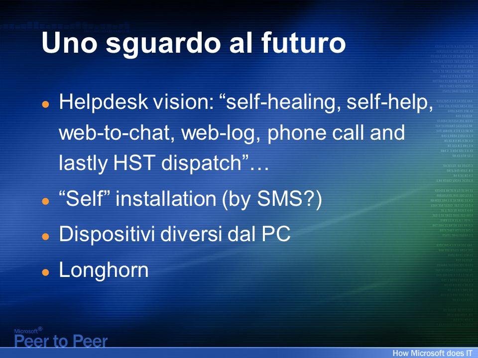 Uno sguardo al futuro Helpdesk vision: self-healing, self-help, web-to-chat, web-log, phone call and lastly HST dispatch… Self installation (by SMS ) Dispositivi diversi dal PC Longhorn