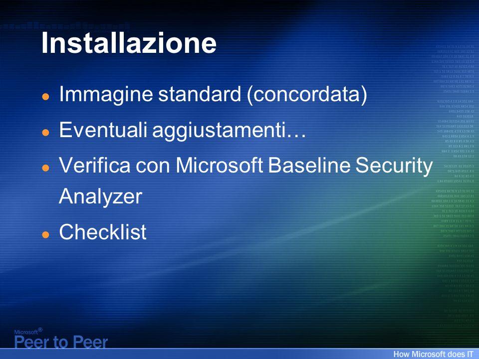 Installazione Immagine standard (concordata) Eventuali aggiustamenti… Verifica con Microsoft Baseline Security Analyzer Checklist
