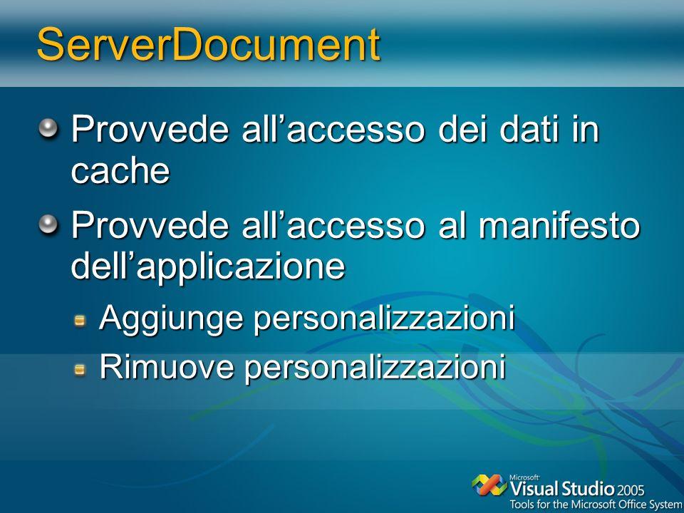ServerDocument Provvede allaccesso dei dati in cache Provvede allaccesso al manifesto dellapplicazione Aggiunge personalizzazioni Rimuove personalizza