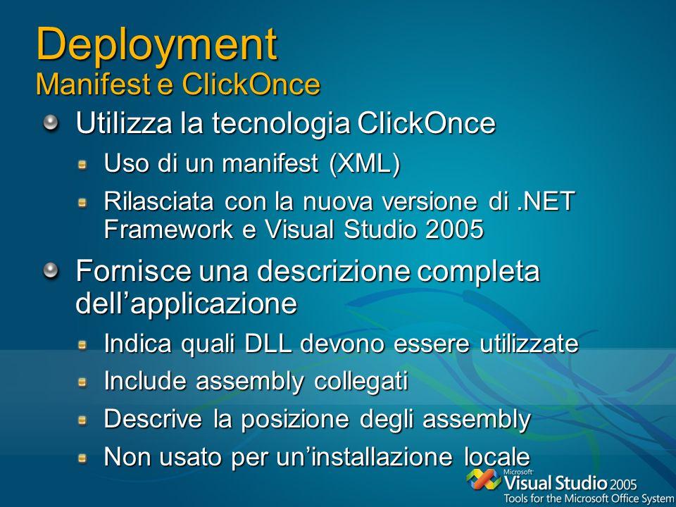 Deployment Manifest e ClickOnce Utilizza la tecnologia ClickOnce Uso di un manifest (XML) Rilasciata con la nuova versione di.NET Framework e Visual S