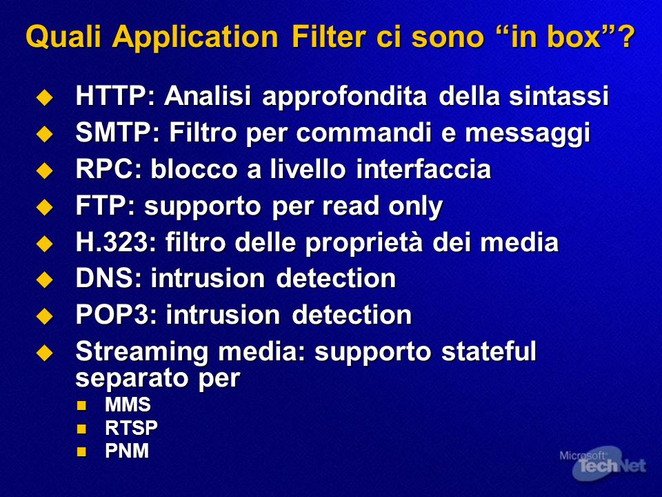 Quali Application Filter ci sono in box.