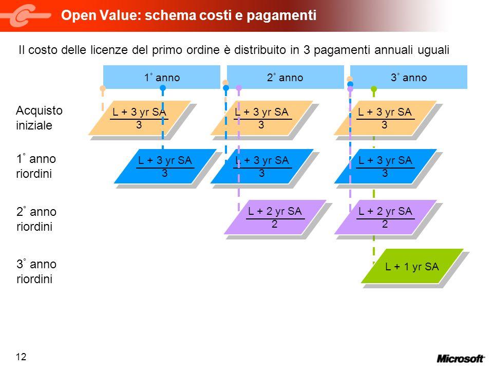 12 3 ° anno2 ° anno Open Value: schema costi e pagamenti 1 ° anno Acquisto iniziale 1 ° anno riordini 2 ° anno riordini L + 1 yr SA 3 ° anno riordini