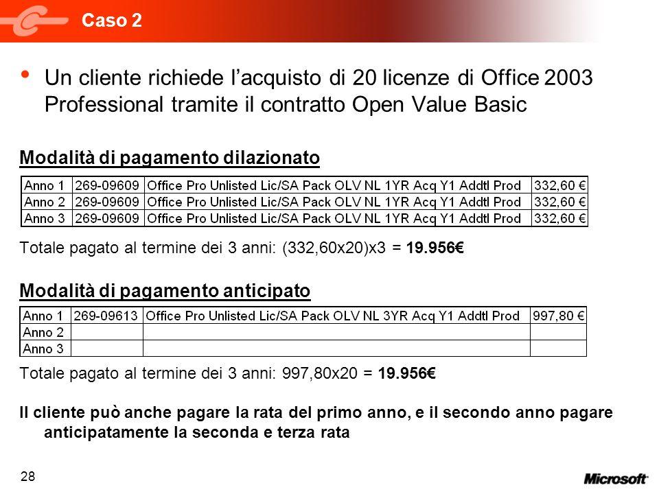 28 Caso 2 Un cliente richiede lacquisto di 20 licenze di Office 2003 Professional tramite il contratto Open Value Basic Modalità di pagamento dilazion