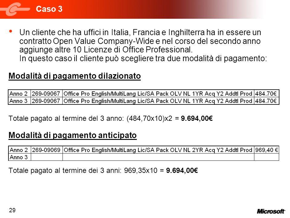29 Caso 3 Un cliente che ha uffici in Italia, Francia e Inghilterra ha in essere un contratto Open Value Company-Wide e nel corso del secondo anno agg