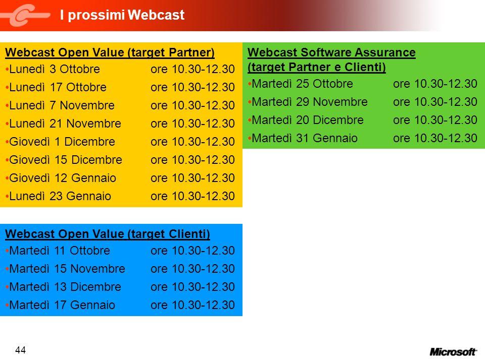44 I prossimi Webcast Webcast Open Value (target Partner) Lunedì 3 Ottobreore 10.30-12.30 Lunedì 17 Ottobreore 10.30-12.30 Lunedì 7 Novembreore 10.30-