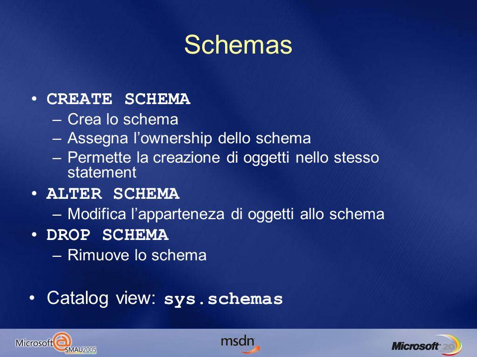 Schemas CREATE SCHEMA –Crea lo schema –Assegna lownership dello schema –Permette la creazione di oggetti nello stesso statement ALTER SCHEMA –Modifica lapparteneza di oggetti allo schema DROP SCHEMA –Rimuove lo schema Catalog view: sys.schemas
