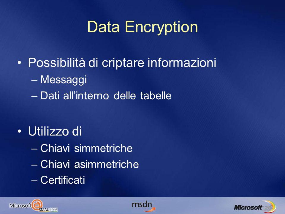 Possibilità di criptare informazioni –Messaggi –Dati allinterno delle tabelle Utilizzo di –Chiavi simmetriche –Chiavi asimmetriche –Certificati